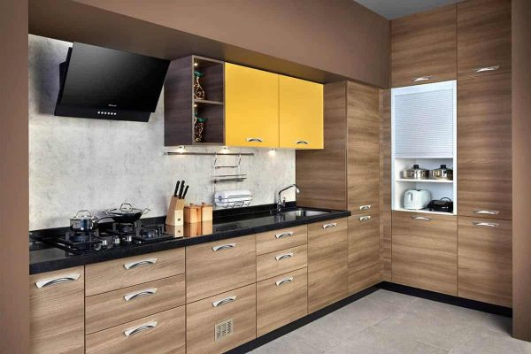 Yellow Oak L Shaped Kitchen