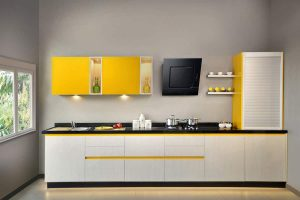 Sunny Side Up Laminate Finish Kitchen