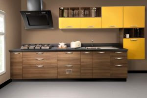 Brilliant Yellow Laminate Kitchen