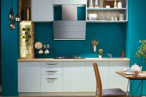 Smart White Straight Line Kitchen