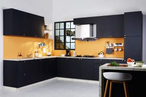 Classic Matt Black L Shaped Kitchen