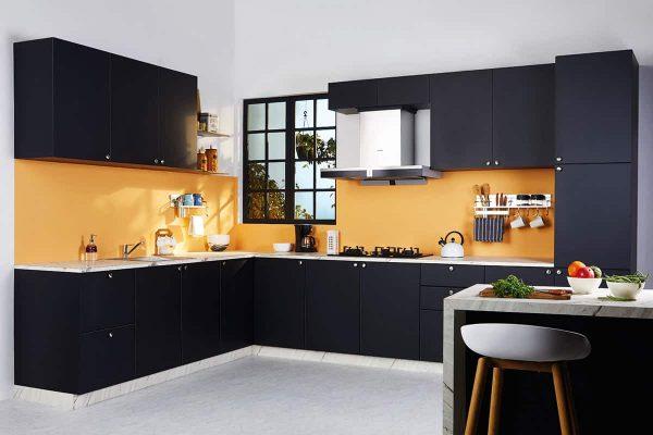 Classic Matt Black L Shaped Kitchen