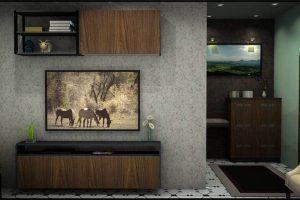 Wooden Grain TV Unit
