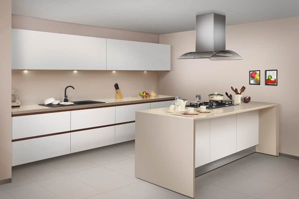 Timeless Glass Kitchen With Veneer Handles