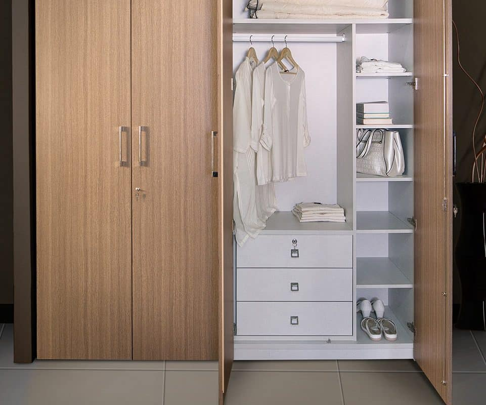 Wardrobe With White Internal Partition