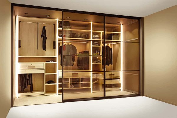 Walk-In Wardrobe With Tinted Glass Sliding Doors